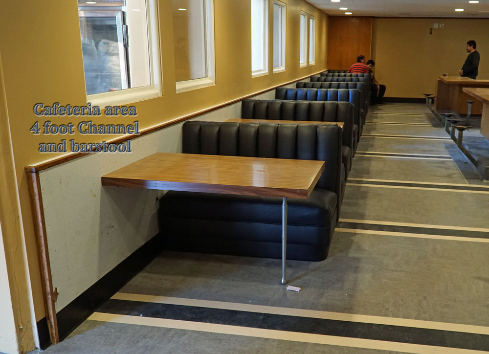 custom booth cafeteria area reupholstered