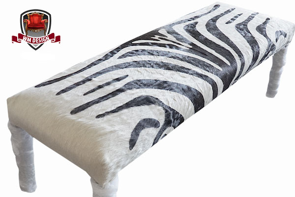 White and Black Benche Reupholstered