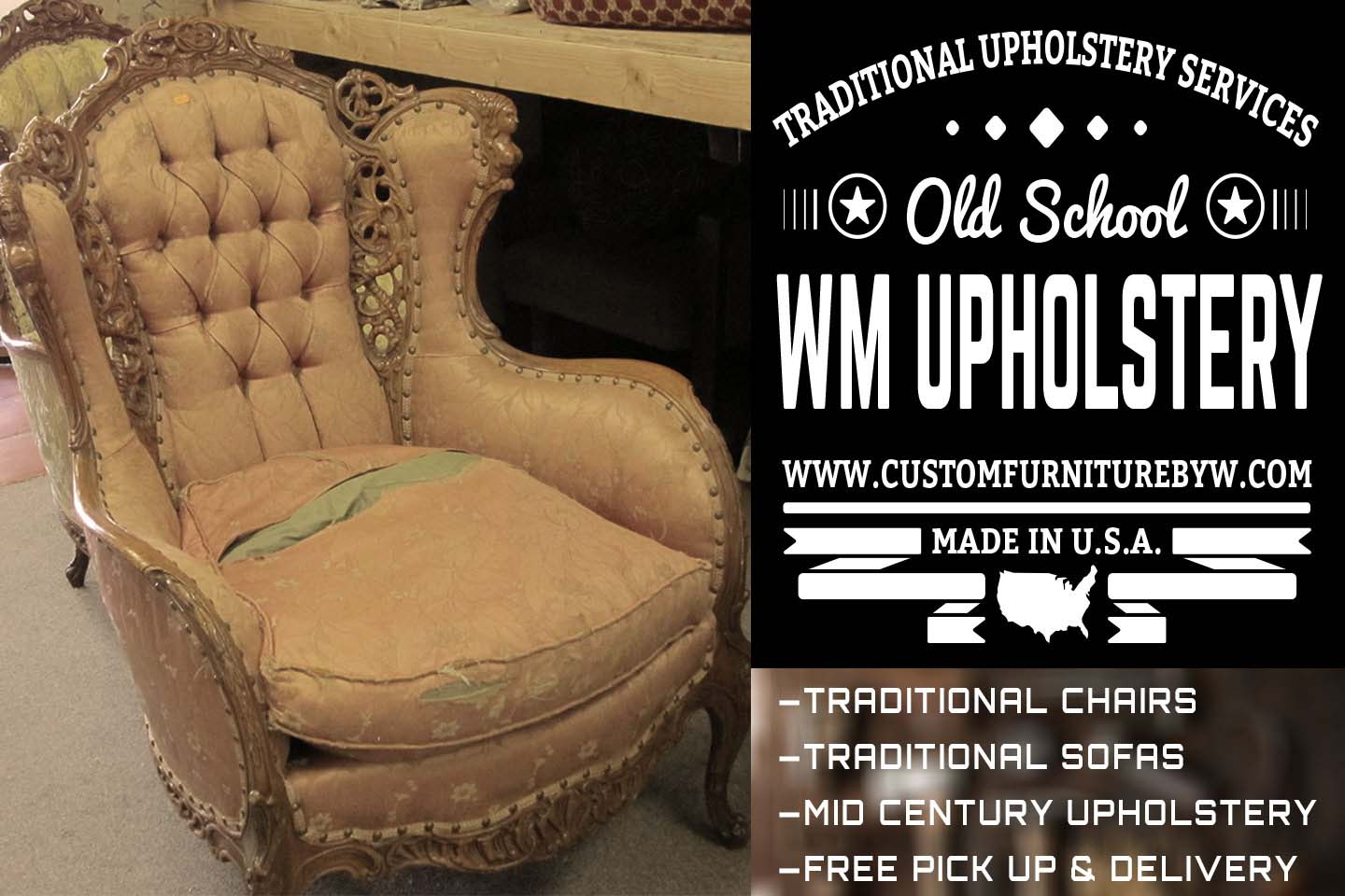 Mid Century sofa and chair upholstery and reupholstery in Van Nuys California
